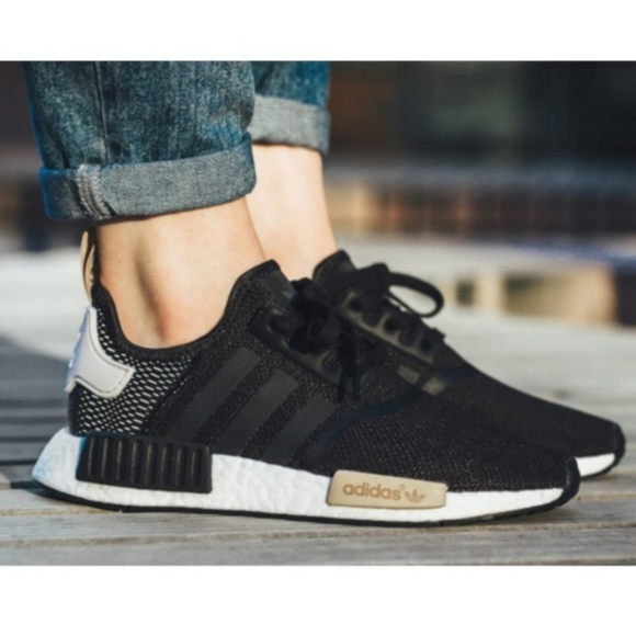 Adidas NMD R1 Black Gold womens sneakers size 6